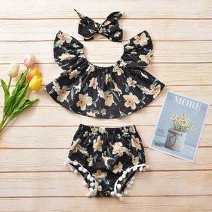 3adet Bebek Kız Giyim Kıyafetler Bebek Kız bebekler Yaz Off Omuz Çiçek Püskül Pp Pantolon Şort Seti Bebek Giyim Tops