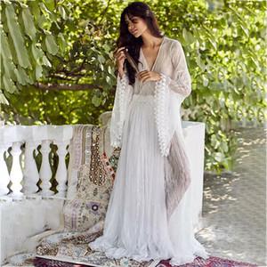 Damen Kleid Boho mit tiefem V-Ausschnitt lange mit Blumen Aufflackern-Hülsen-Spitze-Dame-Sommer-Strand Sundress See Through-Party Formal Langen