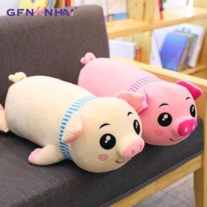 1 adet 45-75 cm Sevimli Yalan Eşarp Domuz Peluş Oyuncak Dolması kawaii Yumuşak Hayvan Domuz Yastık Bebek Güzel Doğum Günü Hediyeleri Çocuklar için Bebek