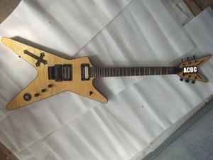 Пользовательские Wash Southern Cross Dimebag Даррелл BSG Flame Maple Natural Guitar Electric Abalone Крест инкрустация, Floyd Rose тремоло, черный Аппаратная