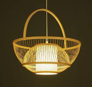 Bambù Wicker Rattan carrello paralume Pendant Lighting rustico paese asiatico artistico luce E27 Hanging Lampade da cucina MYY