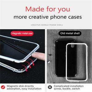 럭셔리 폰 케이스 마그네틱 흡착 플립 iPhone x 케이스 강화 유리 뒷면 커버 금속 범퍼 휴대 전화 케이스