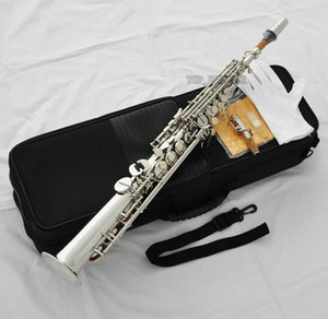 Top Silver nickel Straight Soprano Saxophone Bb sax High F# G Key 2 Necks new