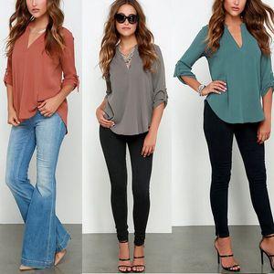 Womens Stylist parti superiori della maglietta sexy manica lunga taglio basso Ladies T-shirt camicetta Tops con materiale chiffon donne slacciano con scollo a V T