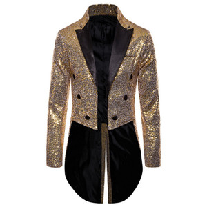 2020 Men Gold Silver Red Blue Black Sequin Slim Fit Tailcoat Stage Prom Dresses Costume Wedding Groom Suit Jacket
