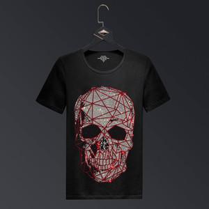 Plus Size Fashion Skull Strass T-shirts manches courtes Homme Marque Homme Streetwear O Neck Slim T-shirts Calaveras Camiseta