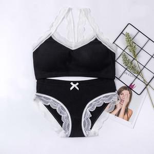 Female Bra Set Seamless-Wäsche-Aktiv-BH Kurz Satz-Baumwoll bequeme Breathable Draht-freie Unterwäsche-Frauen
