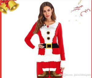 Ocidental vestido de Papai Noel com Fardas Ribbon Digital Impresso Manga comprida Red Cosplay Vestido de Natal