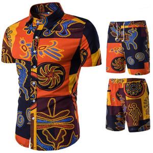 Seaside Tatil Gömlek Şort Takımları Casual Çiçek Baskılı Tracksuits Yaz Erkek Tasarımcı Suits Moda Plajı Mens
