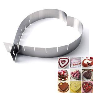 قابل للتعديل على شكل قلب الفولاذ المقاوم للصدأ موس حلقة DIY أداة الخبز مخبز كعكة Mouss الدائري