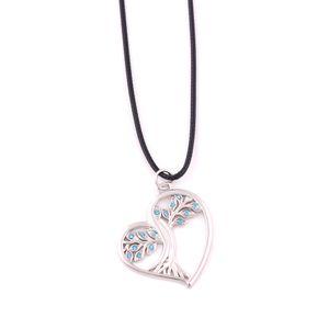 Collier pendentif en forme de coeur arbre solstice plaqué argent