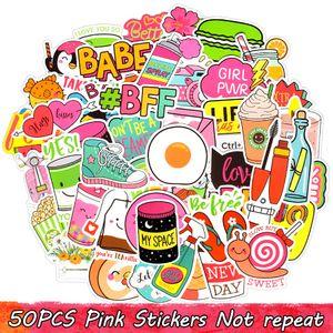 50Pcs autocollants en vinyle imperméable rose mignon Girly pour bouteille d'eau portable Cas de téléphone de bagages Planche à roulettes de voiture Décoration d'intérieur VSCO Party Favors