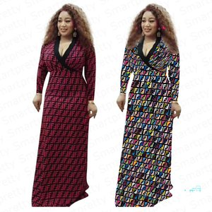 Brand FF letter long dress Women Designer Floor length Skirt Maxi dress Long Sleeve V-neck ball gown Ladies Evening Party Dresses 2xl E32711