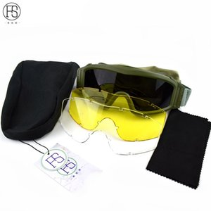 Sport Sunglasses Outdoor Windproof Protection Glasses Military Eyewear With 3 Lenses Tactical Goggles