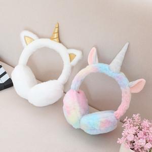 Enfants peluche licorne Coquilles enfants oreille mignon Muffs hiver chaud Cache-oreilles en fourrure Thicken arc-en-Unicorn Cover Party Favor GGA2997-7