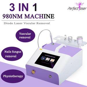 3IN 980nm trattamento di rimozione del fungo delle unghie Macchina laser di rimozione delle vene del ragno del chiodo trattamento del fungo del chiodo sistema di cura della pelle 980nm