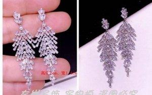 fashion low pirce high quality diamond crystal zircon 925 silver tassels lady's earings 5.2cm