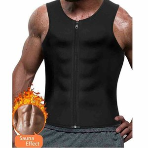 Treino dos homens quentes do instrutor Vest Regatas Sweat Sauna cintura instrutor Corpo Shaper Magro Masculino Athletic Gym Zipper Camiseta Plus Size