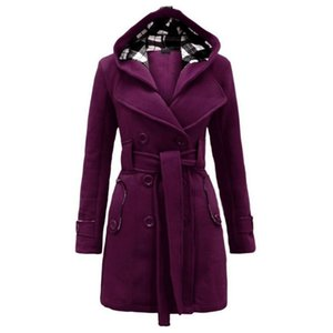 Autumn Winter Women Long Sleeves Hooded Belt Double-breasted Coat Dense Mid-long Thick Coat Blue Red Black S-3XL