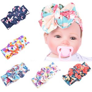 Baby Bow Flower Headbands Bohemian Hairbands Children Printing Big Bow Baby Girls Elegant Hair Wrap HHA11327