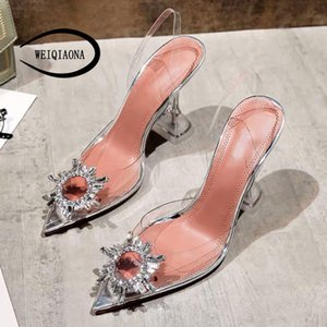 WEIQIAONA sexy Pointed ankle strap woman Fashion crystal shoes Rough with high heels transparent ladies high heel Wedding Sandal