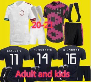 Erwachsene und Kinder 2020 Gold Cup Mexiko-Fußball-Jersey schwarz weiß 20 21 CHICHARITO H. LOZANO Jugend Männer Fußball-Trikots gesetzt Shirts
