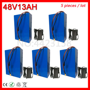 Wholesale 5pcs Lot 48V 1000W Battery 13AH Electric Bike Lithium Pack with 30A BMS+54.6V 2A charger