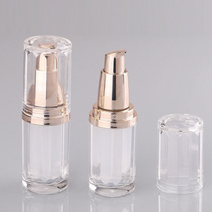 10ML Refillable Acrylic Pump Lotion Bottle Container Portable Empty Cosmetic Packaging Vials with Rose Gold Pump