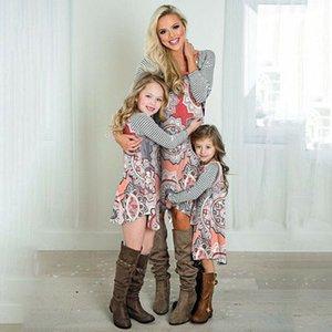 Mãe e vestido de Natal Filha Matching Mulheres Meninas presentes Familiares Casual Novos