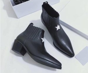 Hot Sale-Fashion leather star women shoes woman leather short autumn winter ankle designer fashion women shoes