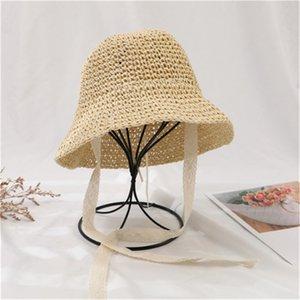 Summer children's straw hat Korea sunscreen sun lace lace men and women baby fisherman hat Wholesale HN316