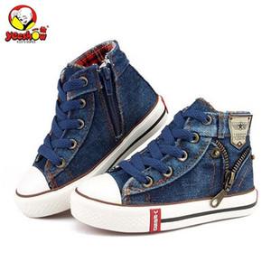 2019 Lona Crianças Sapatos Esporte Respirável Meninos Sapatilhas Marca Crianças Sapatos Para Meninas Jeans Denim Casuais Criança Botas Planas 25-37 Y190523