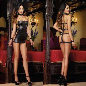 Kadınlar seksi PVC Erotik Leotard kostümleri siyah ıslak bak mikro Mini Catsuit Fetiş Clubwear Parti Faux deri elbise lateks Bodycon Y200418