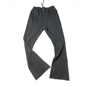 Noir / Gris Sweatpants Pantalon en coton éponge Slim Flare longueur étendue large ouverture Leg Vintage Streetwear