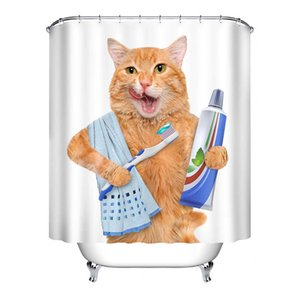 Cute Cat 3D Printed Shower Curtain Waterproof Polyester Fabric Bath Curtain for Bathroom Curtain Decor with 12 Hooks 60*40 Mat