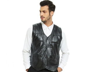 Mens Designer PU Coletes Masculino Formal V Neck Zipper Pockets Casacos Mens Fleece Natural Color mangas Casacos