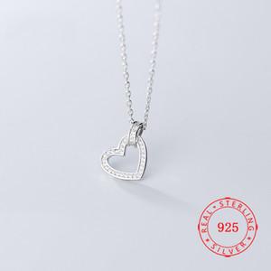Trendy Charme Lady Colar Vestido Jóias Cz Diamante Coração Pingente 925 colar de prata colar de presente Mulheres Moda Para