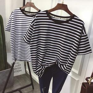 YouGeMan camiseta de las mujeres del estilo coreano de verano de la ropa ulzzang Harajuku de rayas de manga corta camisetas Mujer ocasional de la camisa superior básico