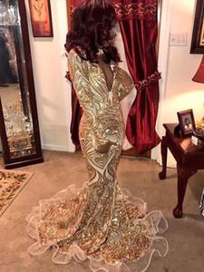 New profundo pescoço VESCOLHO Vestidos de baile de sereia de ouro 2019 Vintage mangas compridas African Nigerian Evening Vestidos BC0933