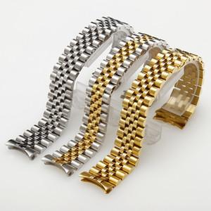 13mm 17mm 20mm Edelstahl Band Silber Gold Uhrenarmbänder Uhr Männer Pure Solid Plated Watch Bands Armbänder Gebogenes Ende