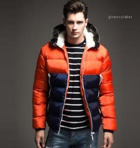 Couleurs chaudes épaisses vestes patchwork vers le bas mmens de concepteur manteaux d'hiver à capuchon