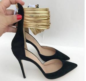 Altın Ayak Bileği band Hollow Sandalet kadın Kırmızı alt Yüksek topuklu ayakkabılar 10 cm büyük boy 44 Cusp Ince topuk Tek ayakkabı Gece Kulübü elbise Düğün