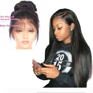 Cheap Brazilian Lace Front Human Hair Wigs With Baby Hair Pre Plucked Brazilian Glueless Straight Lace Front Wigs For Black Women