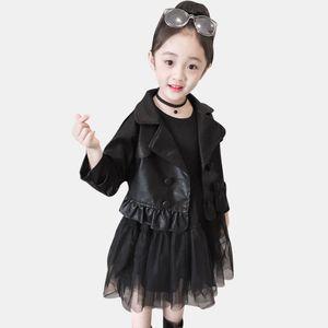 Girls Clothing Leather Jacekt + Mesh Dress Girls Clothing Solid Color Girl Spring Autumn Childrens