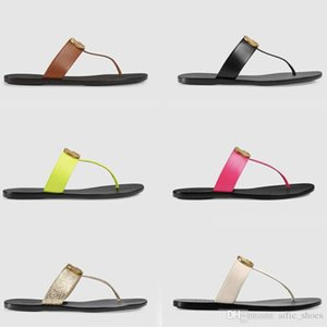 Luxury designer slides Women flip flops Leather Women sandal with Double Metal Black White Brown slippers Summer Beach Sandals with BOX US11