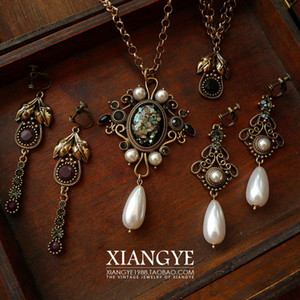 Xiangye Sicily Vintage Court Earrings Ear Clip Necklace Western Antique Replica Vintage Jewelry