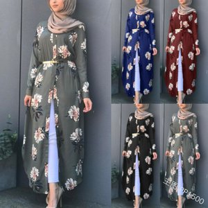 Imprimir muçulmana Abaya Kimono vestido floral Hijab árabe Dubai Mulheres Africano Paquistão Caftan Marocain Kaftan Qatar roupa islâmica