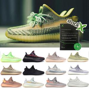 Yecheil Yeezreel Des Chaussure Schwarz Static Reflective Frauen-Männer Turnschuhe laufen Lehm-weiße Zebra-Glow Citrin Designer Sport Sapatos Schuh