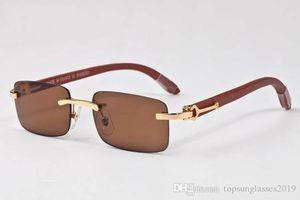 mens designer sunglasses 2019 brand rimless sunglasses metal gold wooden frame vintage glasses wood sun glasses for women come with box