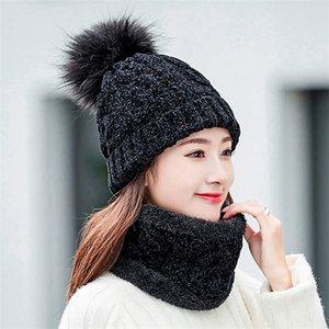 2019 Cappello Donna Autunno Inverno di lana a maglia sciarpa calda spessa antivento Balaclava Multi Cappello funzionale sciarpa Guanti regolati per le donne